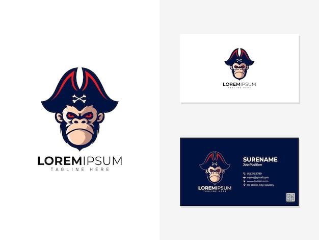 Pirate monkey mascot logo and visit card Premium Vector