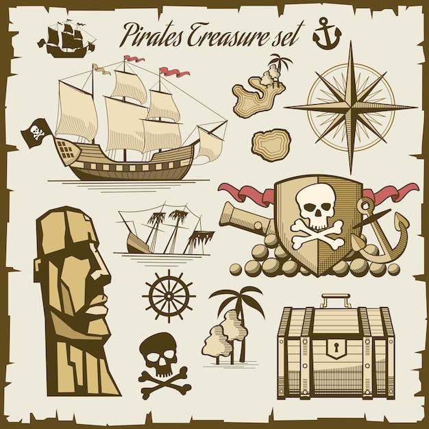 Insieme di vettore di oggetti pirata. cannone e cranio di simbolo, illustrazione della nave del mare Vettore gratuito