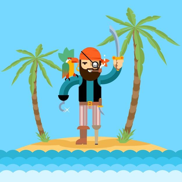 보물섬 그림에 해적 무료 벡터