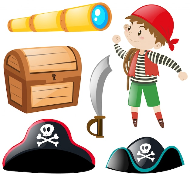Pirate and other elements Free Vector