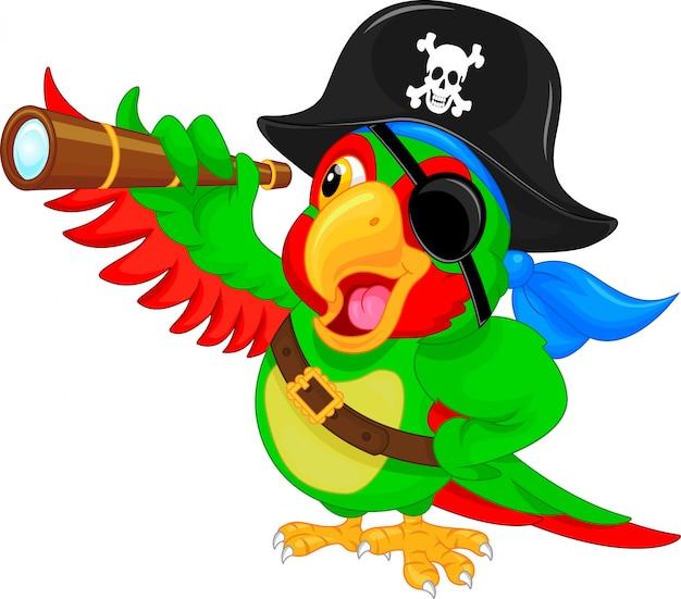 Pirate parrot cartoon Premium Vector