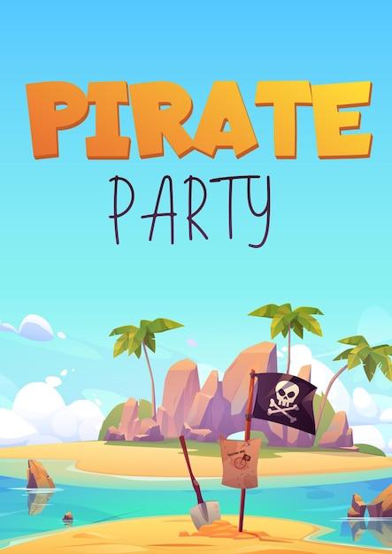어린이 어드벤처 게임 또는 의상 파티를위한 해적 파티 전단지. 무료 벡터