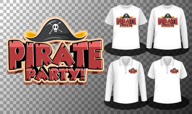 Pirate party logo with set of different shirts with pirate party logo screen on shirts Free Vector