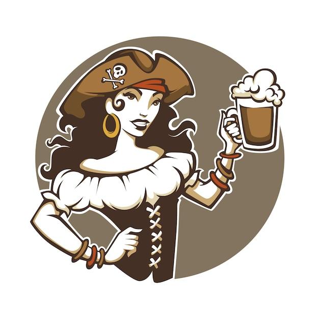 海賊党、コルセアの衣装と帽子の美しい女性の肖像画は生ビールを保持します Premiumベクター