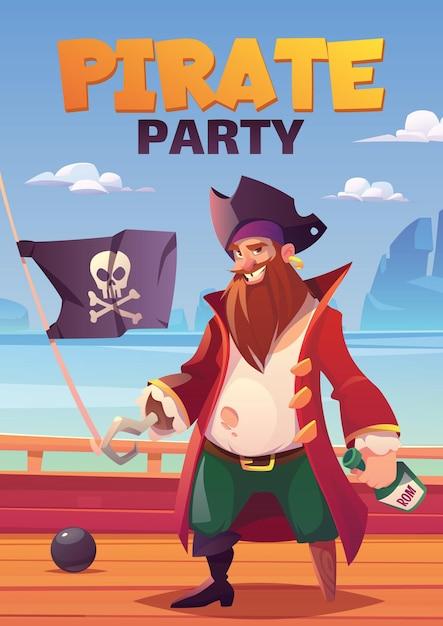Плакат пиратской вечеринки с бородатым улыбающимся капитаном с крючковой рукой и деревянной ногой, держащим подставку для бутылок рома на деревянной палубе корабля Бесплатные векторы