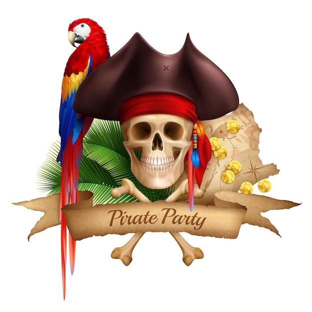Pirate party realistic composition with old map colorful parrot and hat worn on skull realistic Free Vector