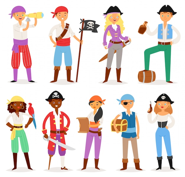 Pirate  piratic character buccaneer man or woman in pirating costume in hat with sword illustration set of piracy sailor person with treasure chest  on white background Premium Vector