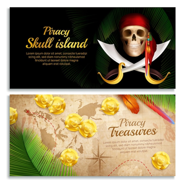 Pirate realistic horizontal banners set with treasures symbols isolated Free Vector