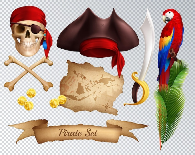 Pirate realistic icons set of saber pirate hat red bandanna tied to skull parrot on palm branch isolated on transparent Free Vector