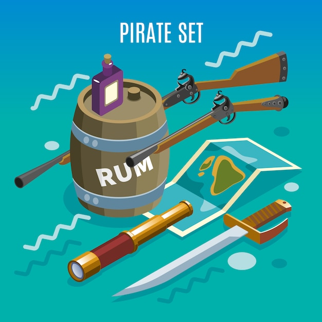 Pirate set isometric game Free Vector