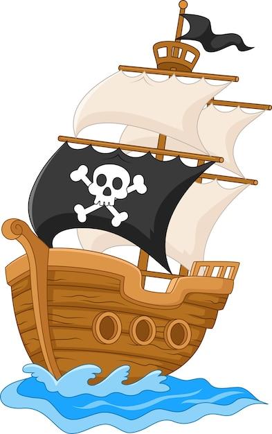 Pirate ship illustration Premium Vector