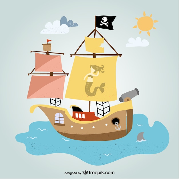 Pirate ship in the ocean Vector | Free Download