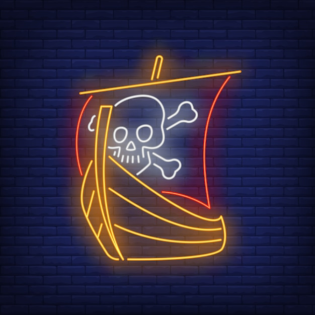 Pirate ship with skull and crossed bones on sail neon sign Free Vector