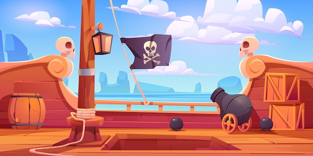 Pirate ship wooden deck onboard view with cannon Free Vector