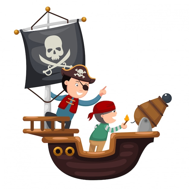 Pirate ship Premium Vector