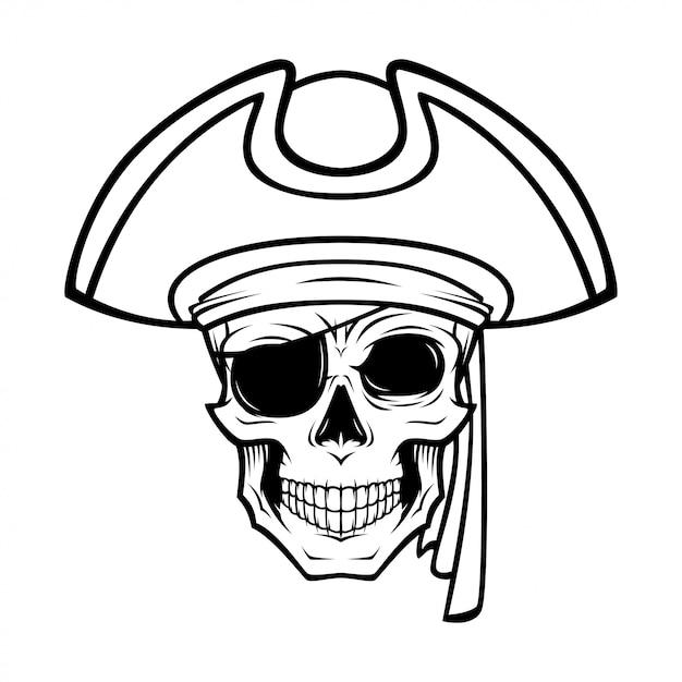 Pirate skull illustration Premium Vector