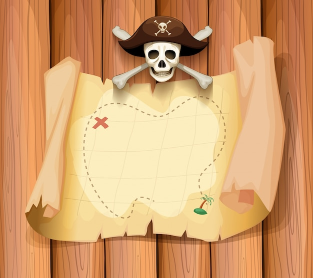 Pirate skull and a map on the wall Free Vector
