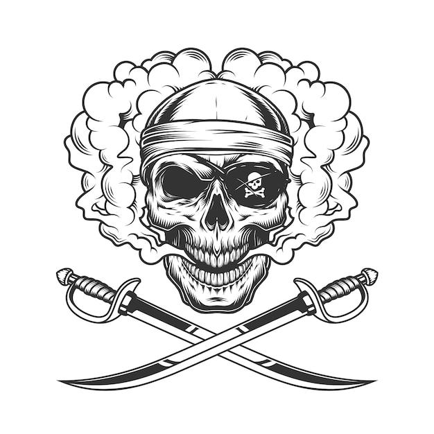 Pirate skull wearing bandana and eye patch Free Vector