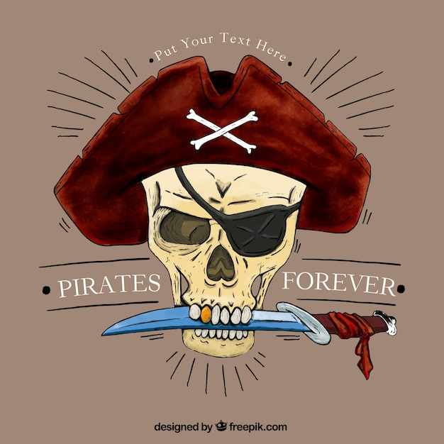 pirate skull with a knife background vector free download