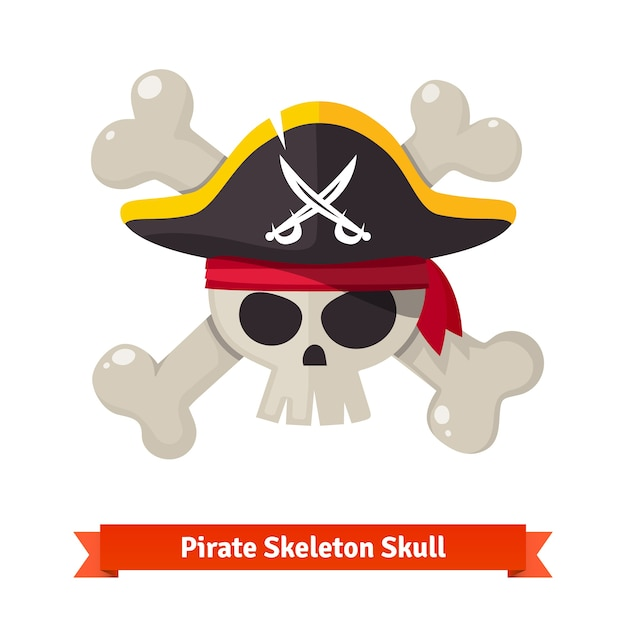 Pirate skull with crossed bones in black hat Free Vector