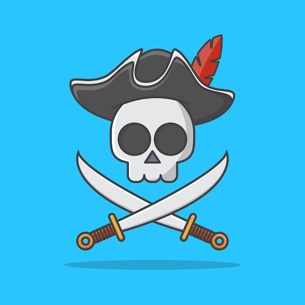 모자와 교차 칼 아이콘 일러스트와 함께 해 적 해골. 해적 상징 프리미엄 벡터