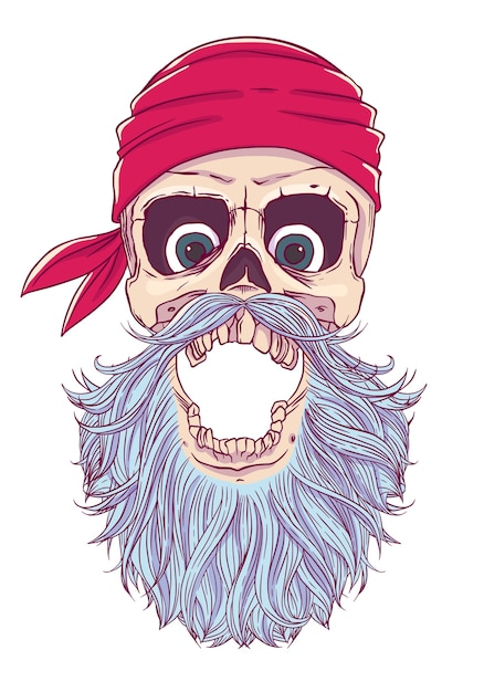 Pirate Skull With An Open Mouth A Blindfold Bandana And Beard