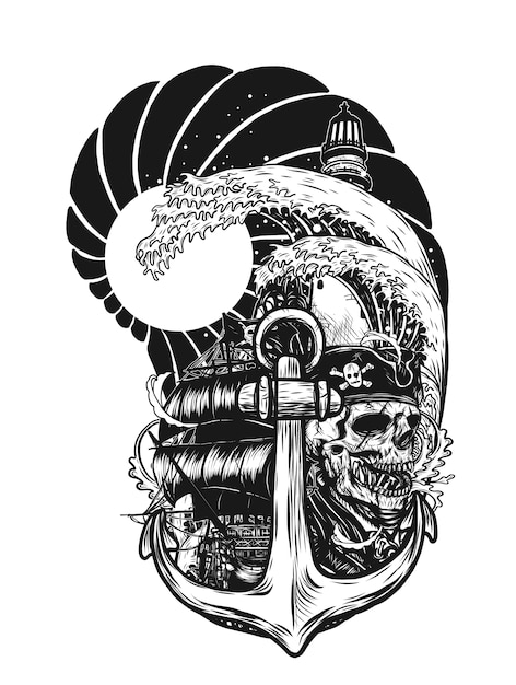 fd2d46ebc Pirate skull with ship vector tattoo by hand drawing. Premium Vector