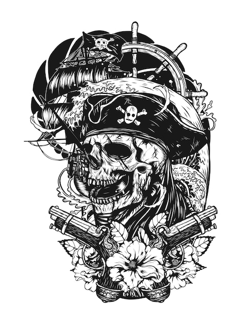 Pirate skull with ship vector tattoo by hand drawing. Premium Vector
