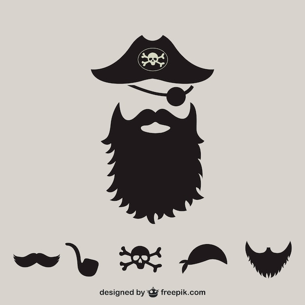 Pirate supplies silhouette  Free Vector