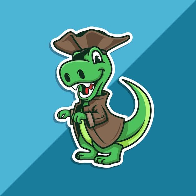 Пиратский талисман t-rex Premium векторы