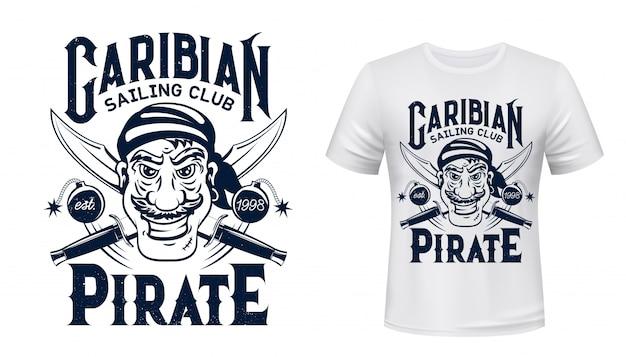 Pirate t-shirt print  of sailing sport club Premium Vector