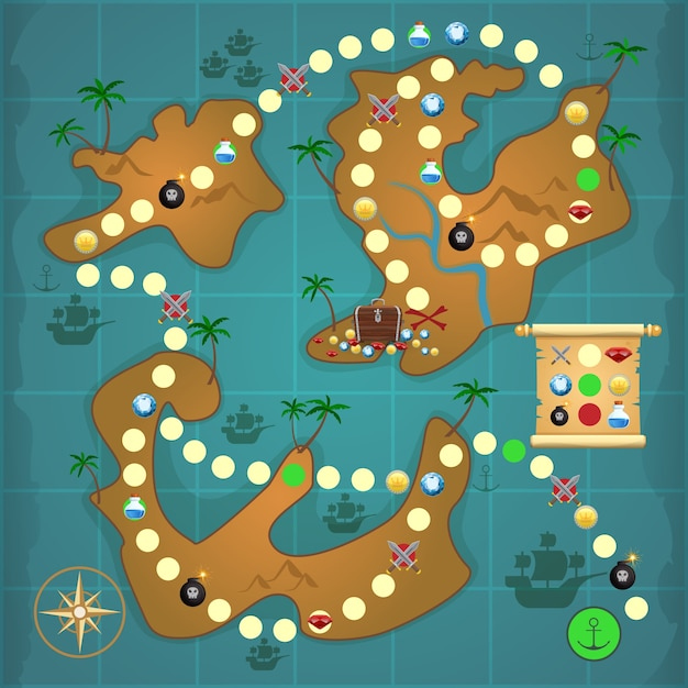 Pirate Treasure Island Map Game Puzzle Template Vector