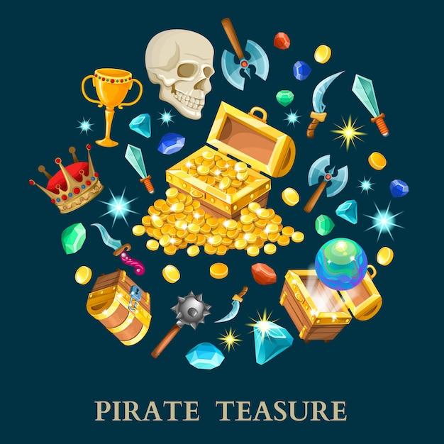 海賊の宝物等尺性のアイコンを設定 無料ベクター