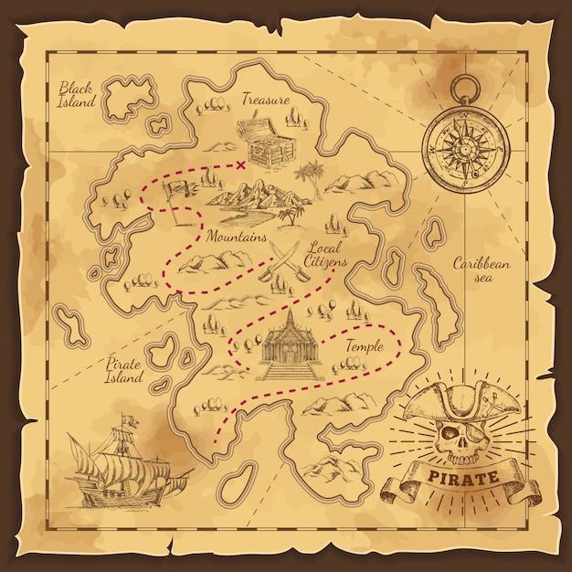 Пиратская карта сокровищ рисованной иллюстрации Бесплатные векторы