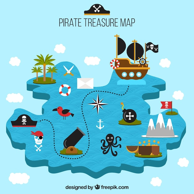 Pirate treasure map with decorative elements Free Vector