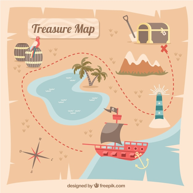 Pirate treasure map with route Free Vector