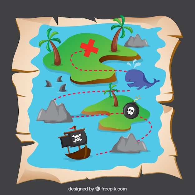 pirate treasure map vector free download