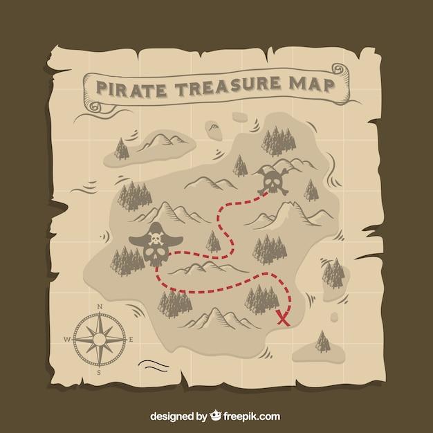 Карта пиратских сокровищ Бесплатные векторы
