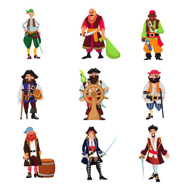 Pirate vector piratic character buccaneer man in pirating costume in hat with sword illustration set Premium Vector