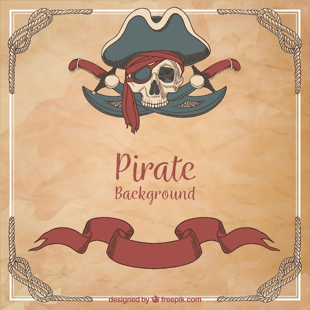 Pirate vintage background Free Vector