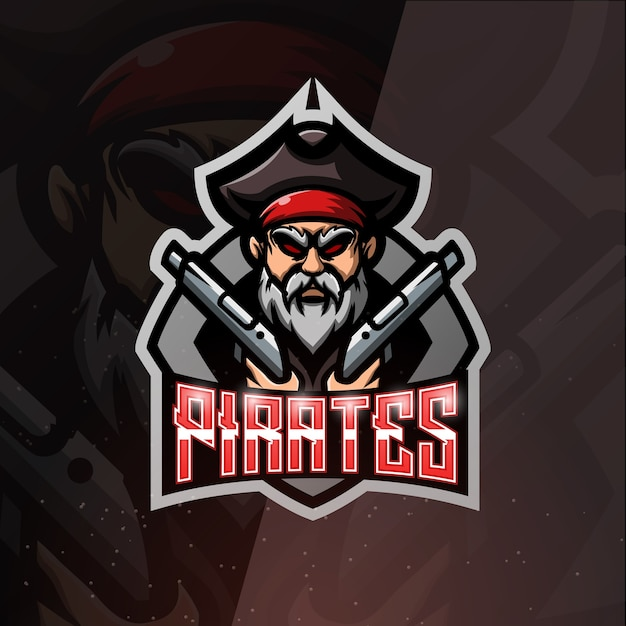 Pirate with guns mascot esport illustration Premium Vector