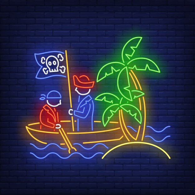 Pirates on boat and island with palm trees neon sign Free Vector