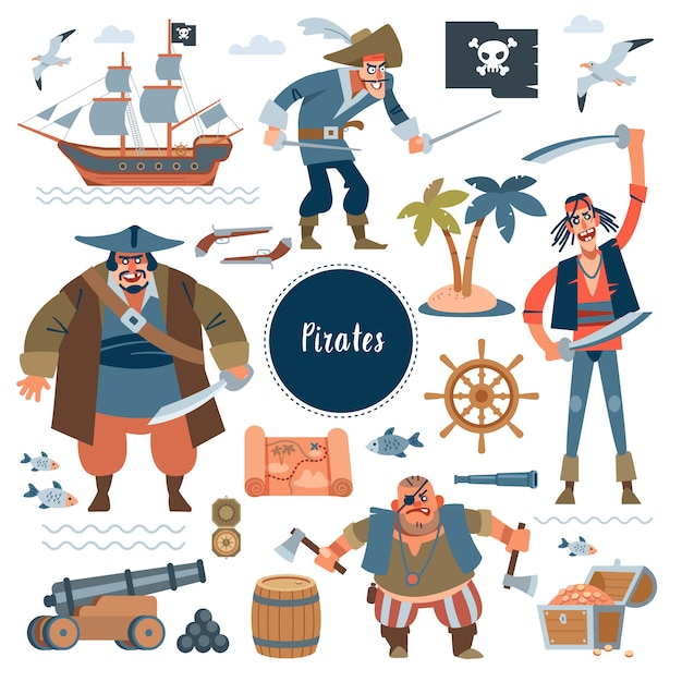 Pirates. collectionadorable pirates, sail ship, sea fish and treasure chest, isolated on white . childish  in flat cartoon style Premium Vector