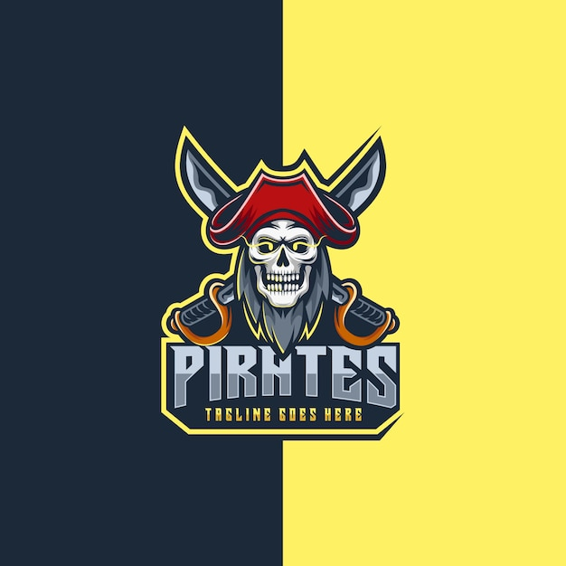 Иллюстрация логотипа pirates e sports style Premium векторы