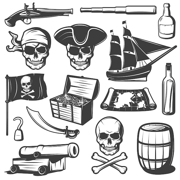Pirates icon set with skulls treasures and pirate weapons black and isolated Free Vector