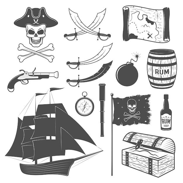 Insieme di elementi monocromatico dei pirati con l'illustrazione di vettore isolata palla di cannone del torace del rum della mappa del telescopio della bandiera dell'arma della barca a vela Vettore gratuito