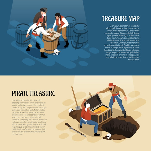 Pirates near treasure map and chest with gold isometric banners isolated on blue beige Free Vector