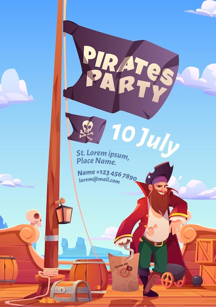 Volantino festa dei pirati, invito per gioco di avventura o evento. Vettore gratuito