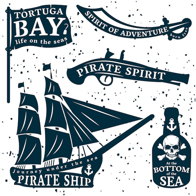 Pirates quote set with tortuga bay spirit of adventure at the bottom of the sea descriptions Free Vector