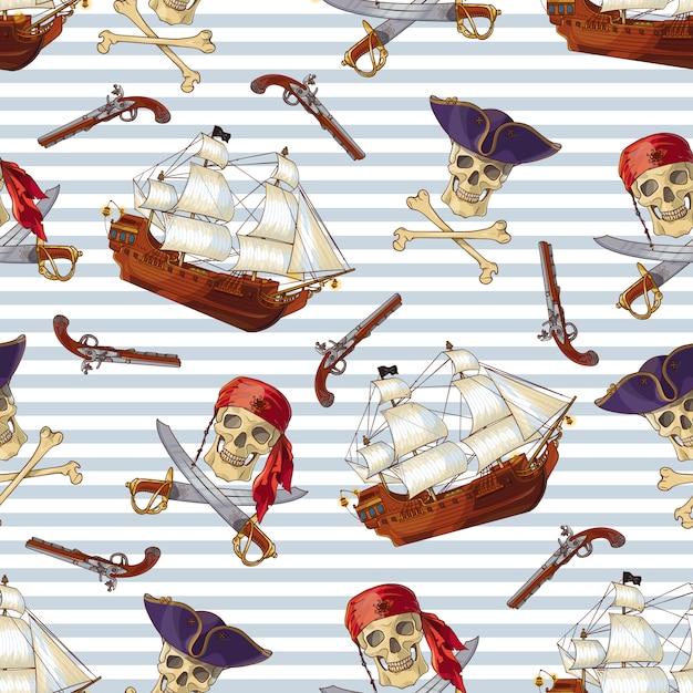 Пираты бесшовные модели Бесплатные векторы